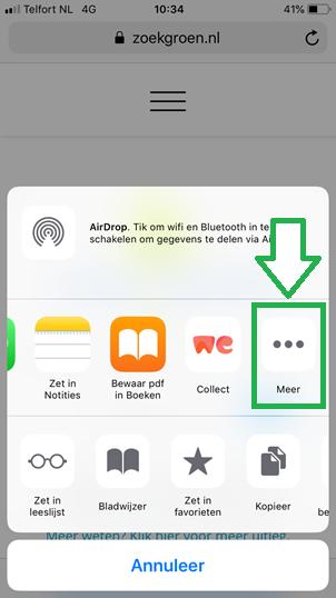 Bladwijzers kopieren van Safari app naar Chrome app (stap 3)