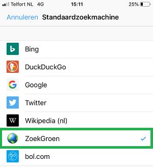 ZoekGroen instellen in Firefox-app (stap 7)
