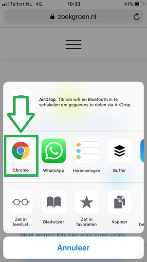 Bladwijzers kopieren van Safari app naar Chrome app (stap 5)