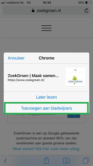 Bladwijzers kopieren van Safari app naar Chrome app (stap 6)
